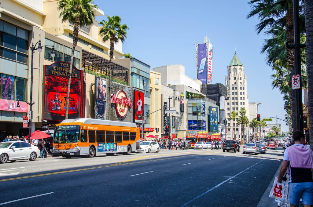 Hollywood Blvd on a busy sunny day