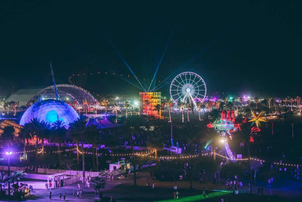 A landscape view of the Coachella festival at night