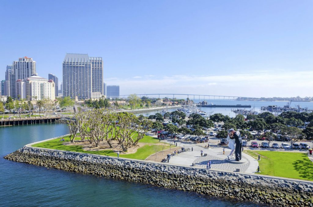 An aerial view of San Diego, with the iconic USS Midway statue