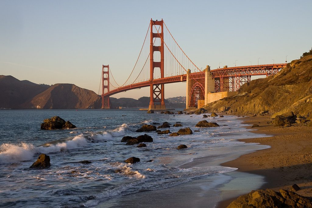 The view of the Golden Gate Bridge from Baker Beach