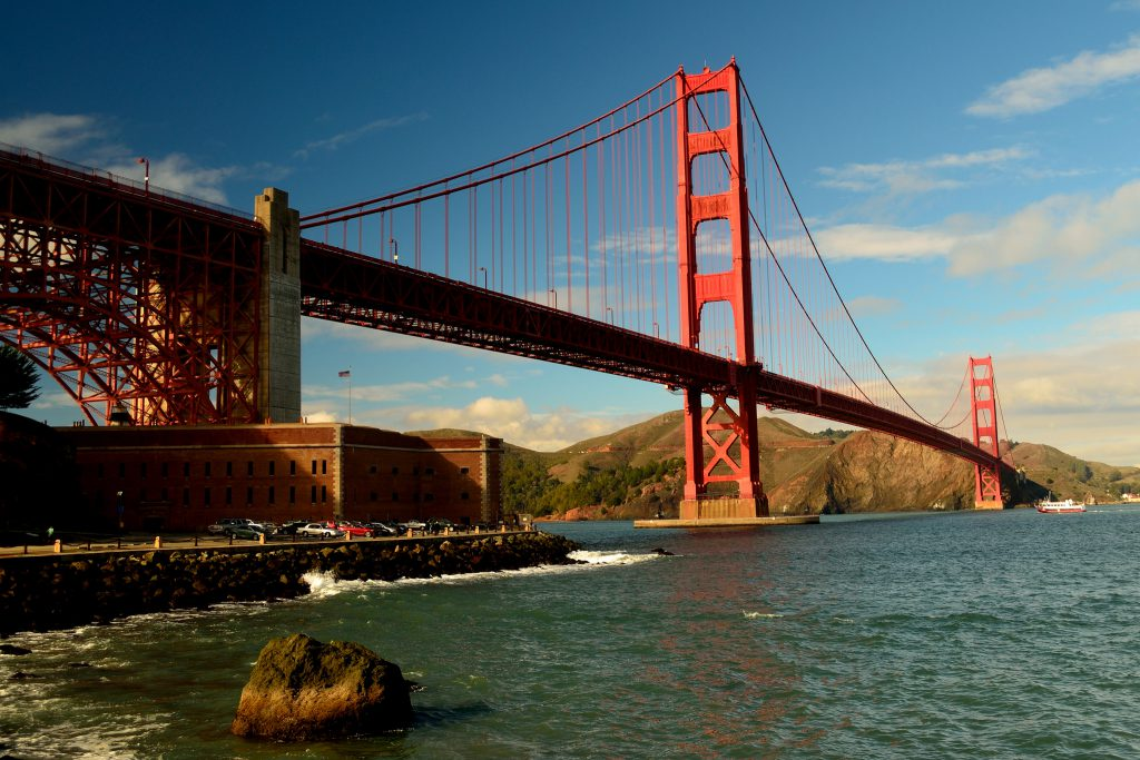 The view of the Golden Gate Bridge from Fort Point in San Francisco