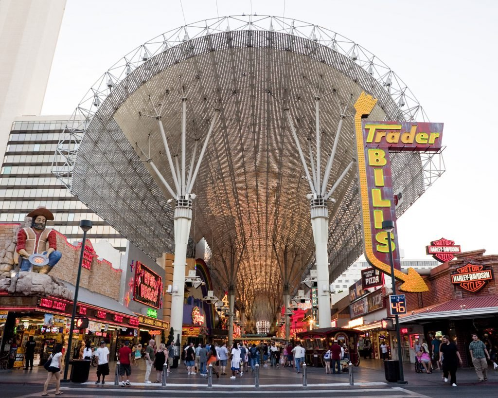 The entrance of Fremont Street on a busy day