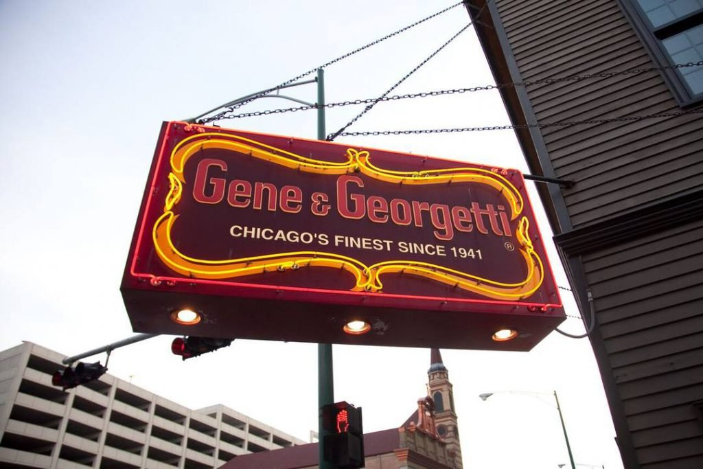 The sign for Gene and Georgetti, one of the famous Chicago restaurants in the city