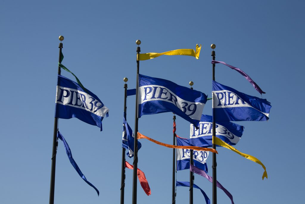 Pier 39 flags at Fisherman's Wharf