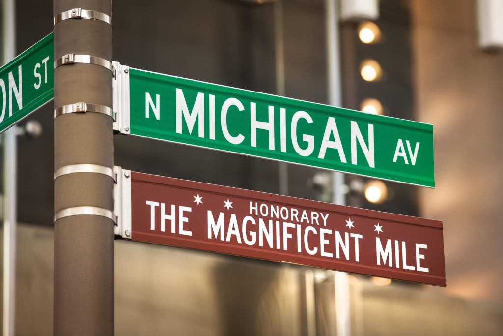 A street sign for North Michigan Avenue and the Magnificent Mile in Chicago