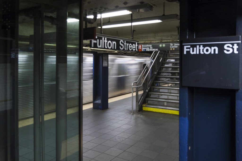 The Fulton Street Subway station in lower Manhattan.