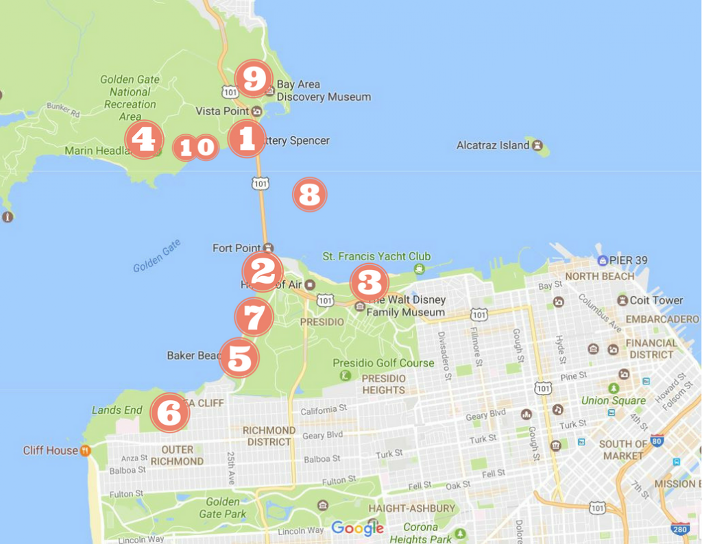 A map of where to find the best views of the Golden Gate Bridge in San Francisco