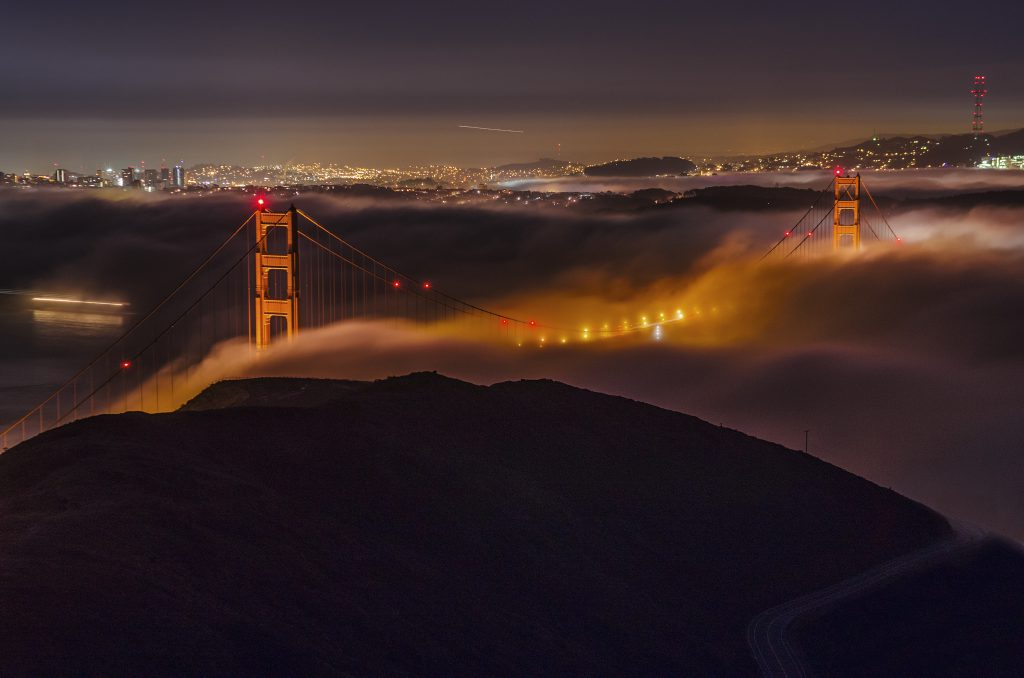An aerial view of the Golden Gate Bridge from Hawk Hill in San Francisco