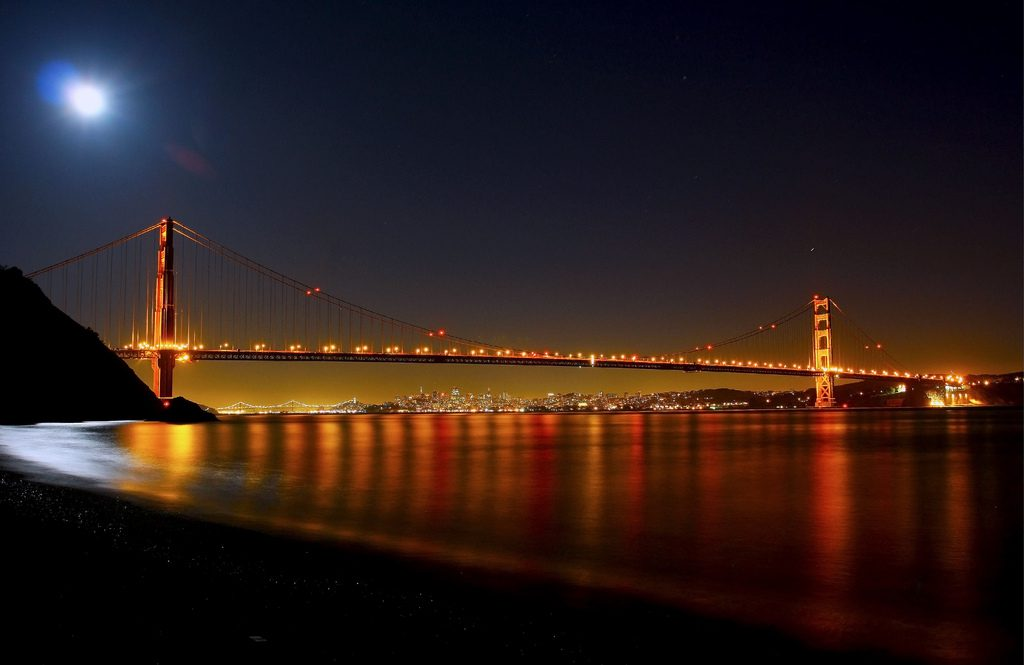 The view of the Golden Gate Bridge from Kirby Cove
