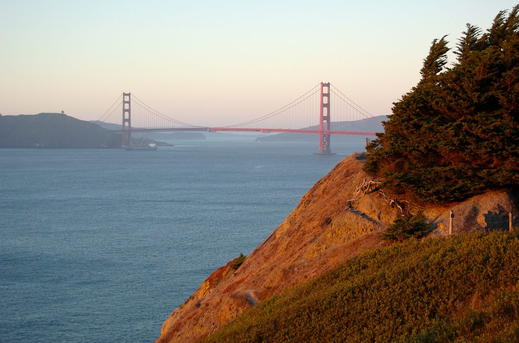 The view of the Golden Gate Bridge from Lands End in San Francisco