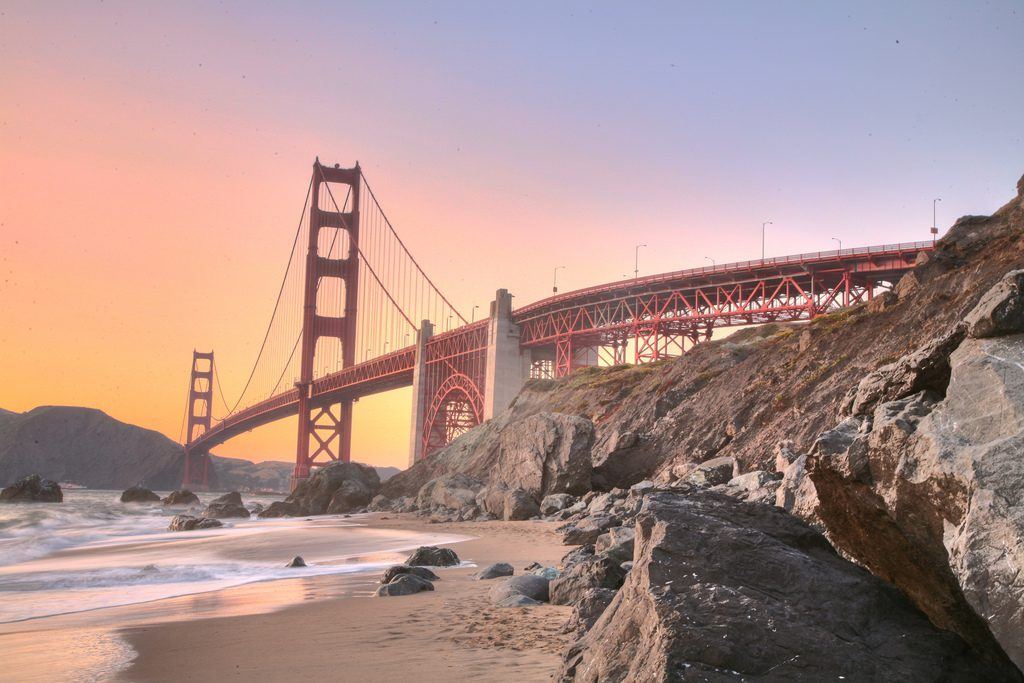 The view of the Golden Gate Bridge from Marshall Beach in San Francisco