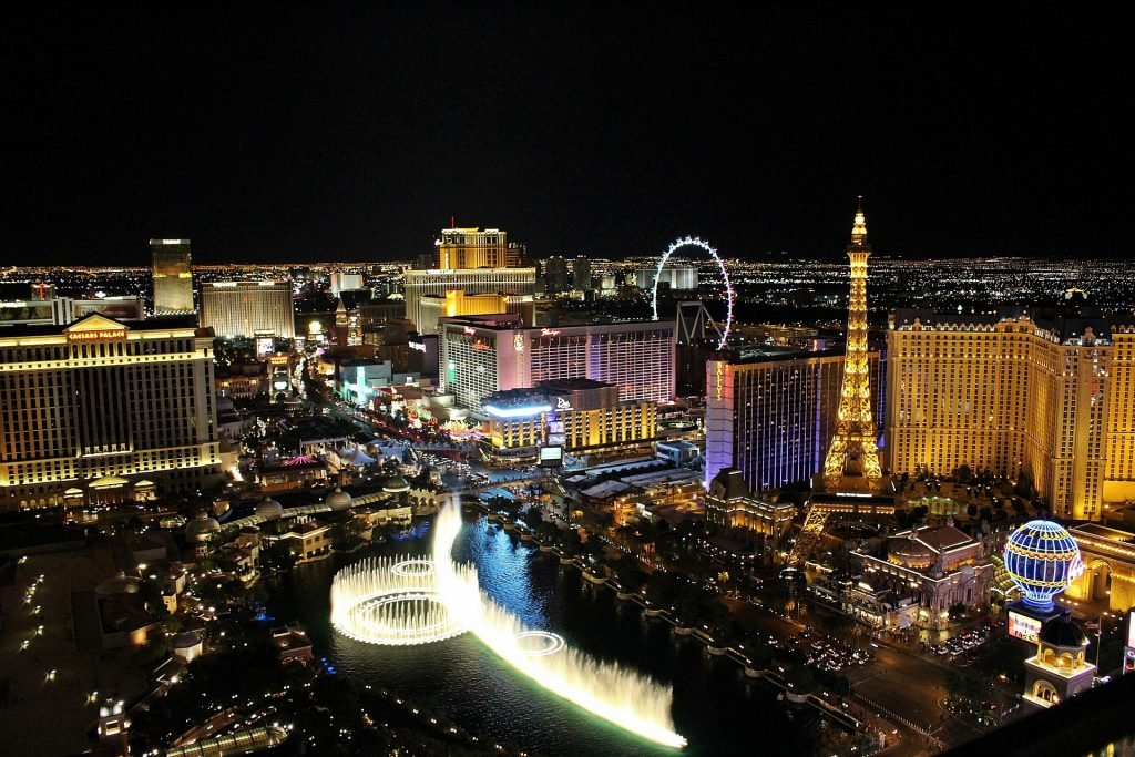 An aerial view of the Las Vegas strip at night.