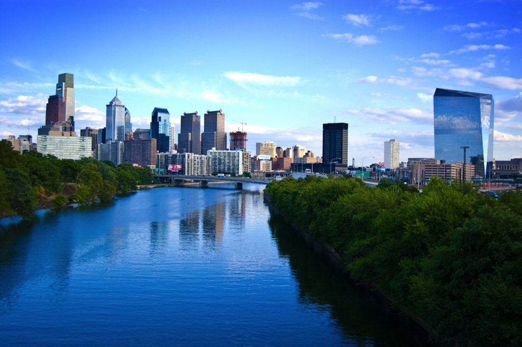 Philadelphia's cityscape along the river