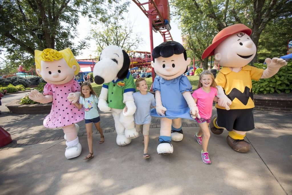 Charlie Brown and the gang walk through the park - Kings Island tips and tricks