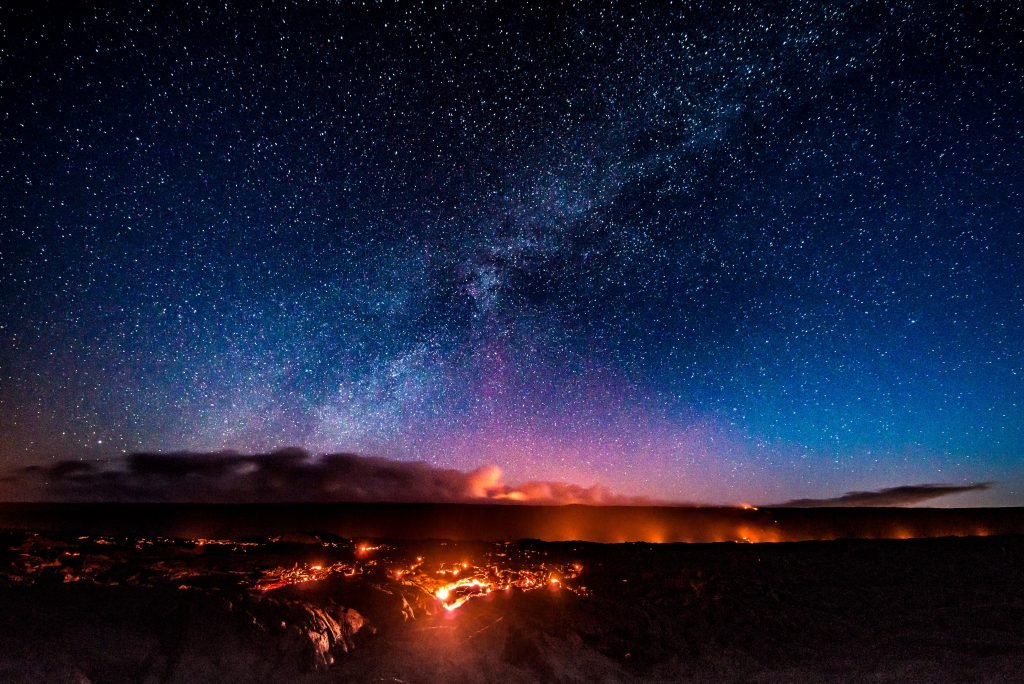The night sky and glowing lava at Hawai'i Volcanoes National Park