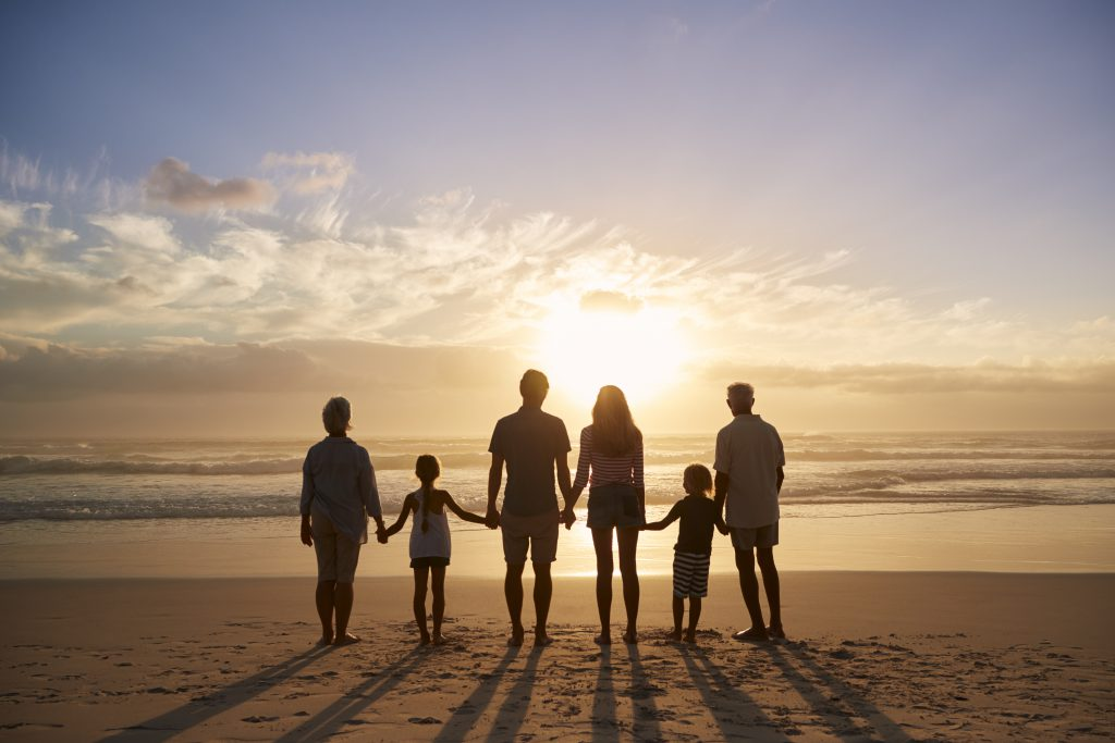 A family on vacation at one of the best spring break destinations for families