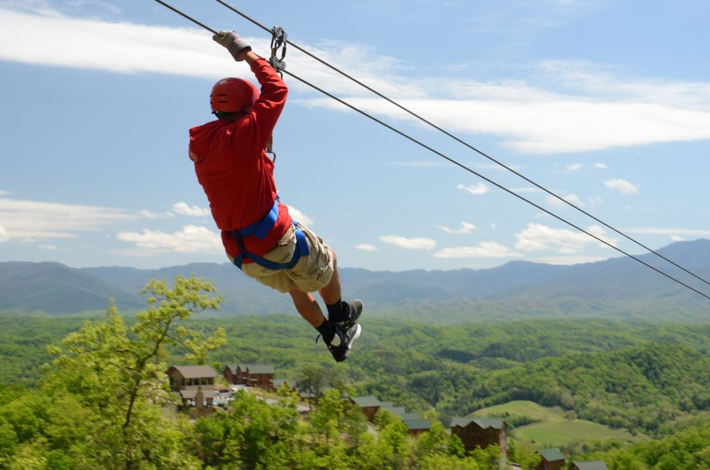 Man ziplines during his Gatlinburg honeymoon