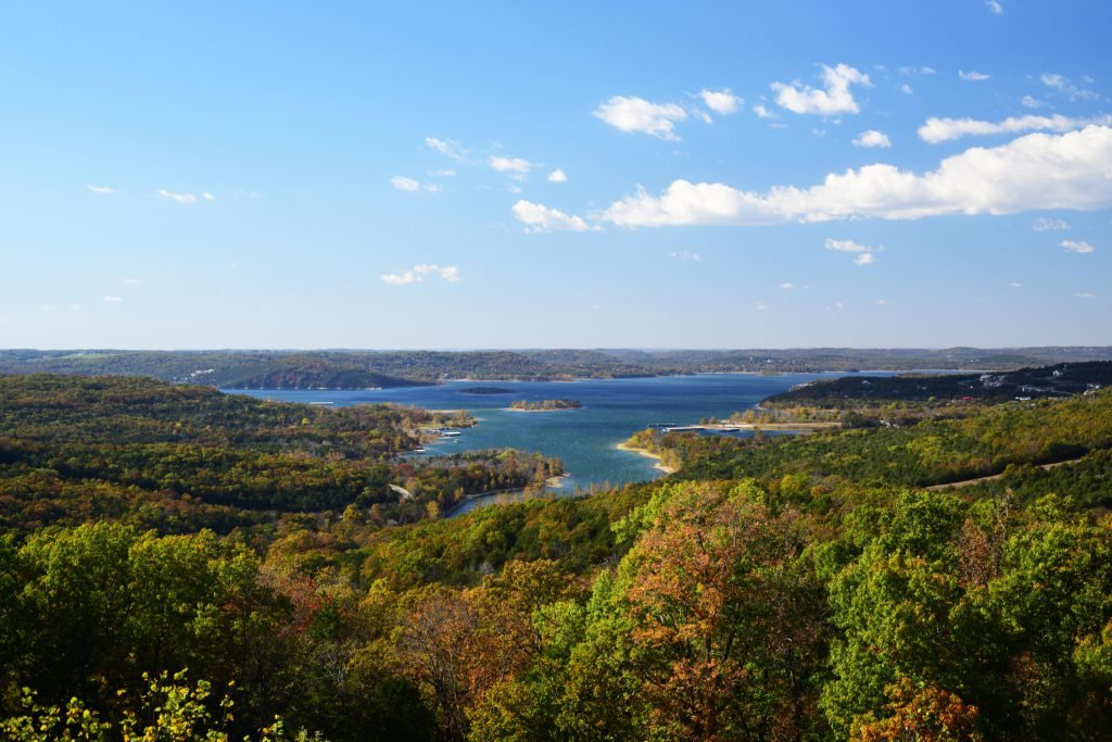 A landscape view of Table Rock Lake in Branson, MO, one of the best spring break destinations for families