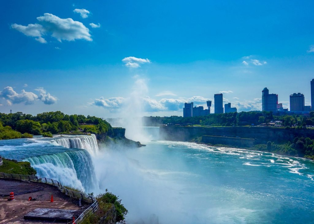 When visiting Niagara Falls, be sure to take in the views like this one with the cityscape overlooking the falls.