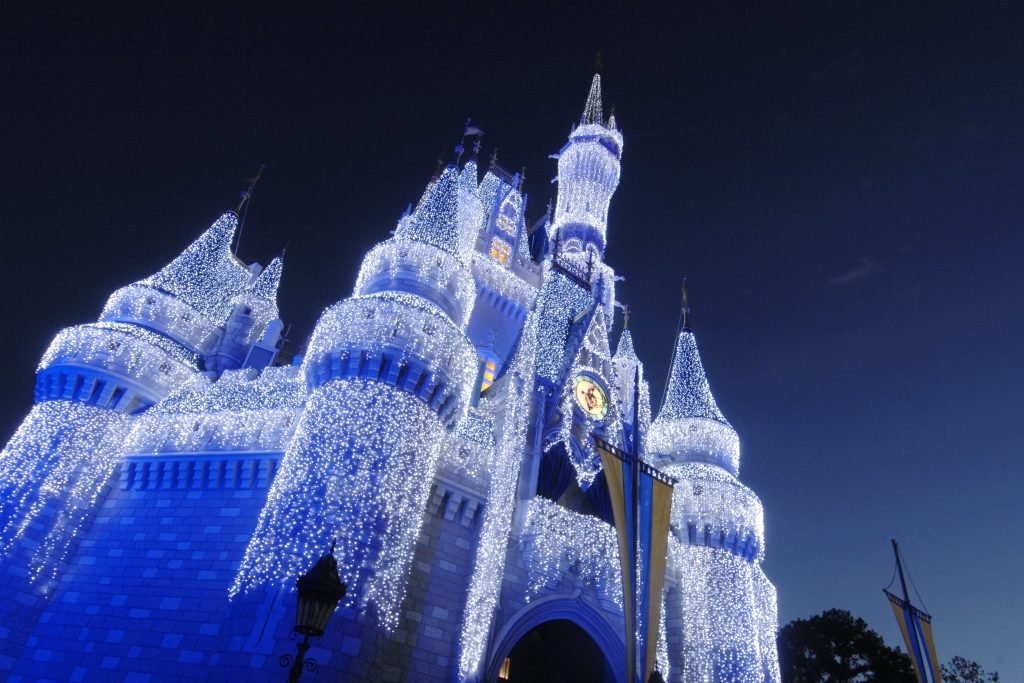Cinderella Castle lights up during the winter Disney World events