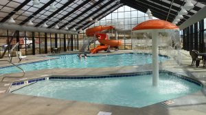The indoor pool at the Spirit of the Smokies Condo Lodge in Pigeon Forge