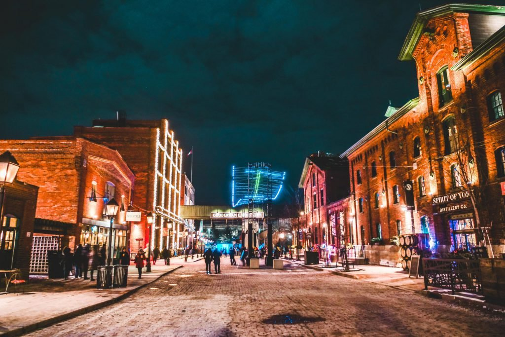 Visiting the Distillery District is among the free things to do in Toronto