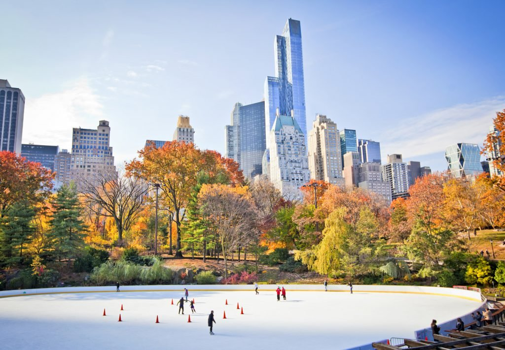 Visitors skate on Wollman Rink in Central Park