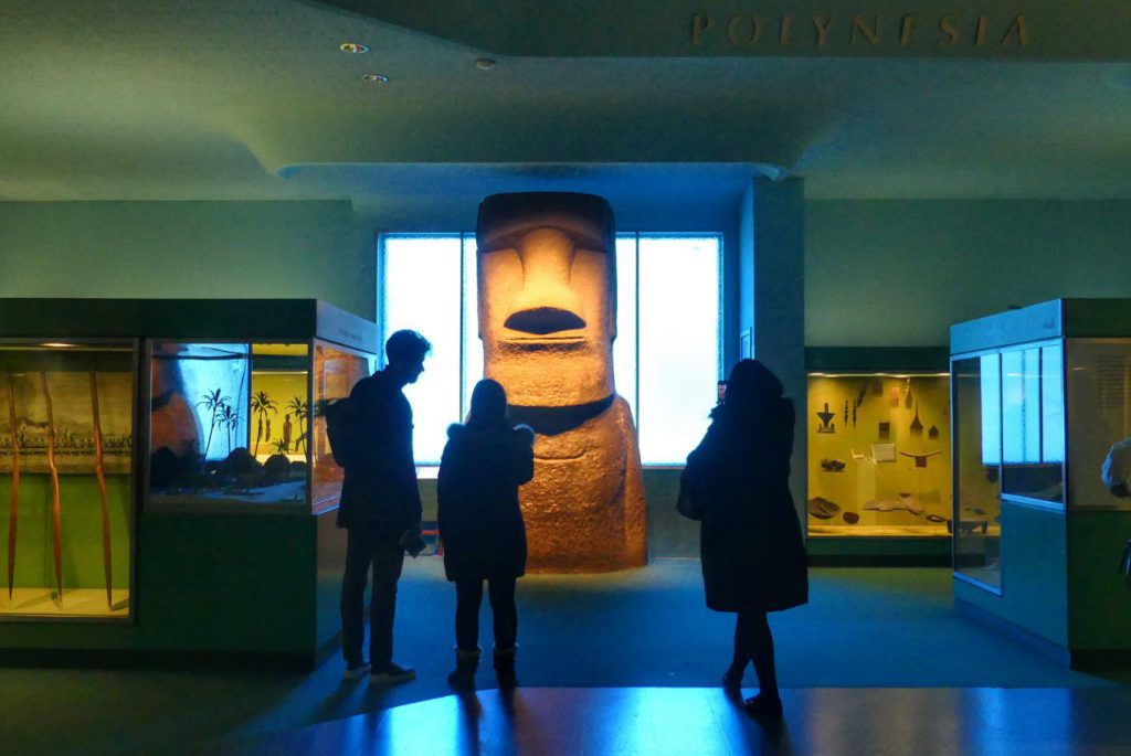 One of the top Museum of Natural History tips is to use the app to find exhibits like this Easter Island replica.