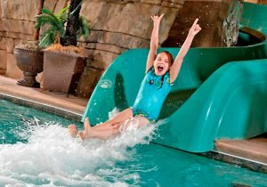 Lodges at Timber Ridge has a water park on top of an outdoor pool