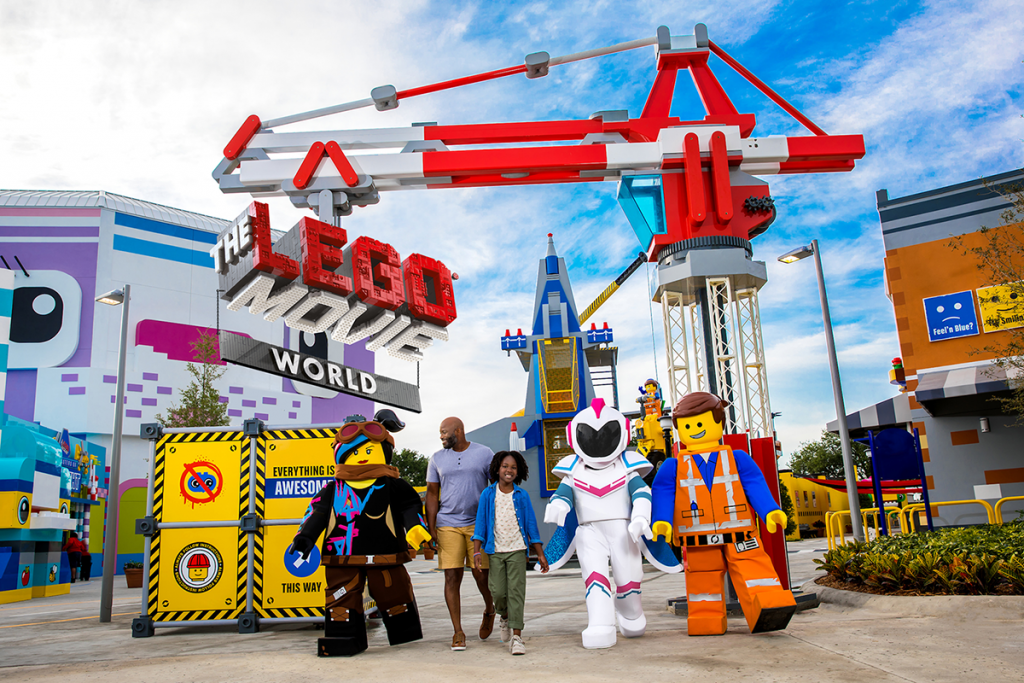 Kids walking with LEGOLAND characters at a meet-and-greet in San Diego, California, USA
